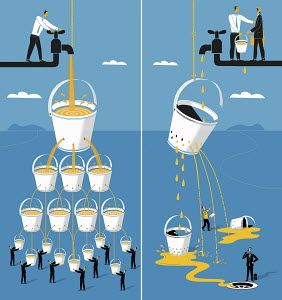 Contrast between honest and dishonest businessmen sharing water resources