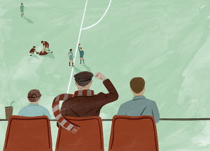 Father watching football match with sons celebrating footballer being sent off