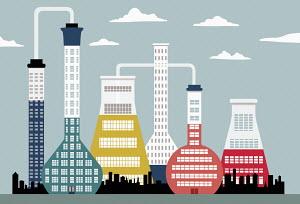 Buildings shaped like laboratory flasks