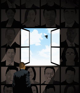 Businessman looking at blue sky through open window in wall of smiling faces