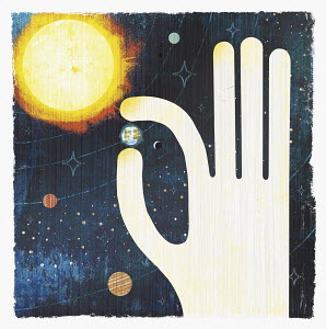 Large hand picking planet earth in solar system - Large hand picking planet earth in solar system