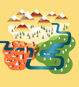 Different environments of city, park and mountains overlapping as venn diagram