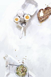 Soft boiled eggs with buttered toast and bean sprouts