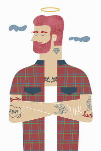 Hipster with beard, tattoos and halo