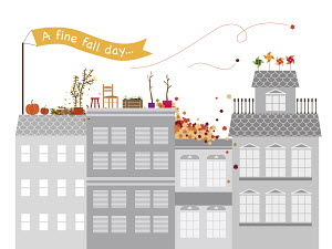 Colorful autumn activities on the roof of gray apartment blocks