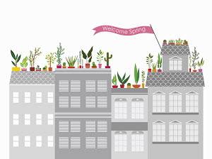 Colorful spring roof garden on top of gray apartment blocks