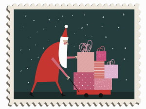 Father Christmas pushing pile of presents in toy cart