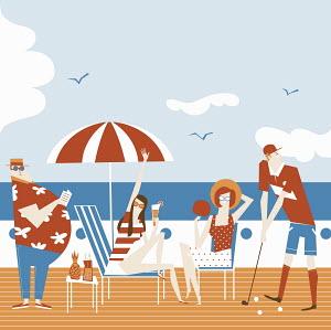 People enjoying relaxing on deck of summer cruise