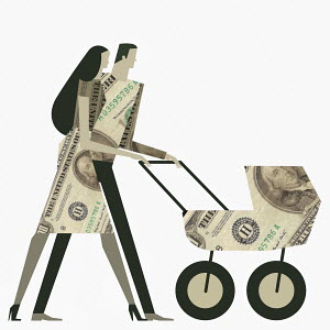 Young couple with clothes and pushchair made out of US dollar banknotes