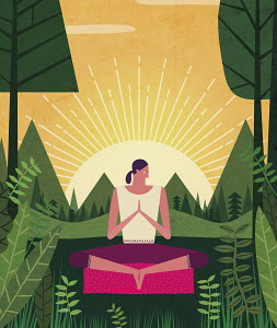 Woman meditating in lush woodland at sunset