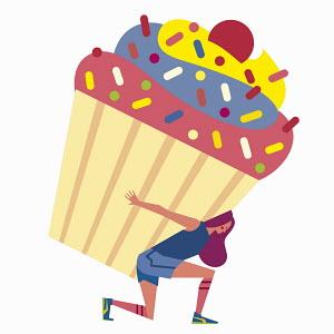 Woman wearing sportswear struggling to carry huge cupcake