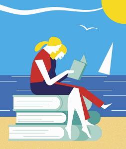 Two girls sitting on pile of large books enjoying reading on holiday