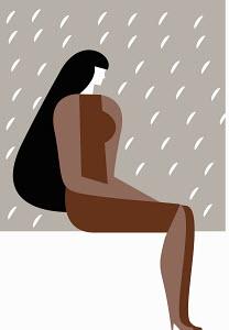 Sad woman sitting in rain