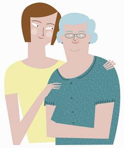 Woman embracing elderly mother