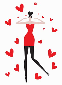 Woman in love surrounded by heart shapes