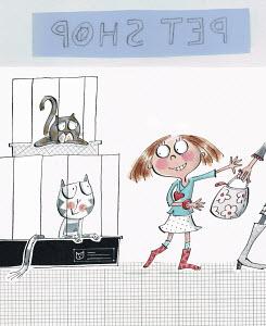 Little girl wanting cat in pet shop