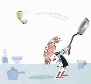 Little girl throwing pancake and missing