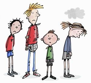 Row of unhappy school children