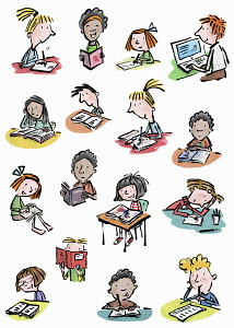 Lots of young children enjoying reading and writing