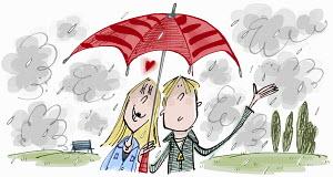 Adoring teenage girl in love with boy sharing umbrella