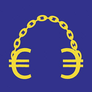 Two euro signs linked by chain as handcuffs
