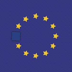 Patch sewn over missing star on European Union flag