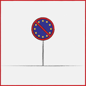 European Union flag on no road sign