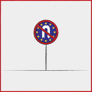 European Union flag on no U turn sign