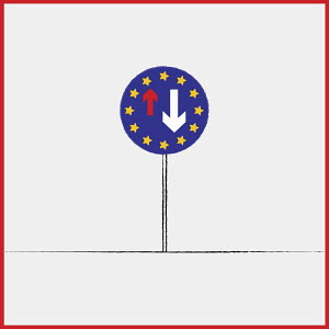 European Union flag on give way to oncoming vehicles road sign