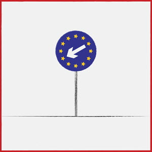 European Union flag on keep left road direction sign