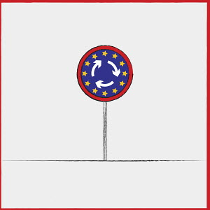 European Union flag on road roundabout sign