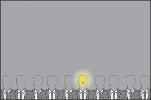 Businessman with light bulb lit up in head standing out from the crowd