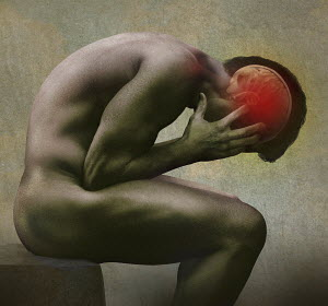 Computer generated image of man bent double suffering with headache pain