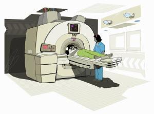 Patient having MRI scan