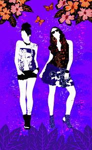Fashionable teenage girls posing in purple countryside