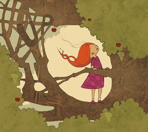 Girl climbing apple tree