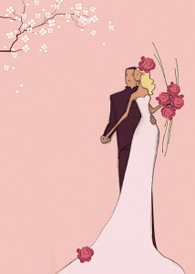 Elegant bride and groom on pink background with spring blossom