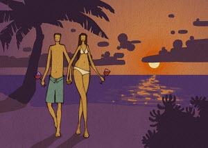 Romantic couple walking on beach at sunset