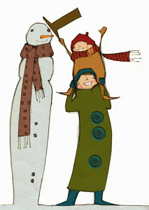 Smiling mother carrying daughter on shoulders to put hat on top of tall snowman