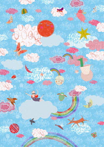 Childhood fantasy of people and animals flying in happy sky