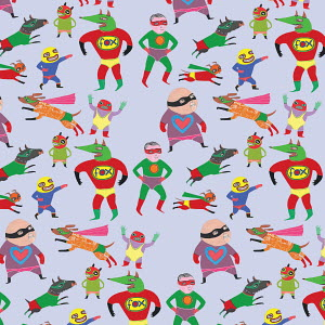 Pattern of different lucha libre superhero wrestlers