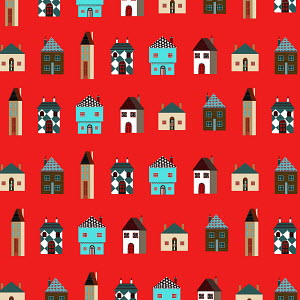 Pattern of rows of different houses on red background