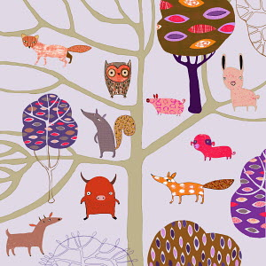 Childhood pattern of countryside animals and trees