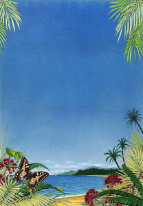 Scenic view of ocean and tropical beach in West Indies