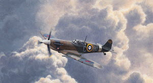 Spitfire plane flying in storm cloud