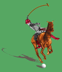 Polo player riding horse hitting ball with mallet