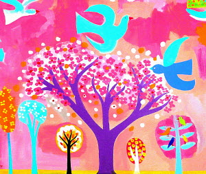 Neon colored birds and flowering trees