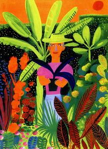 Gardener holding potted plant in tropical garden