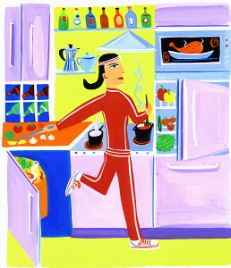 Efficient woman exercising and preparing healthy food wearing sportswear in kitchen