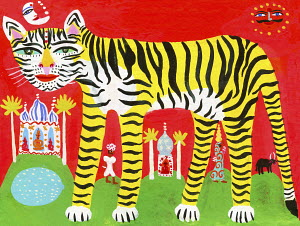 Striped tiger in traditional Indian scene